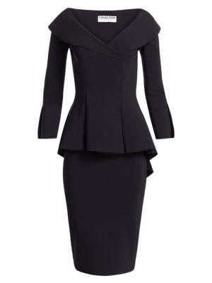 Zoya Long-Sleeve Peplum Sheath Dress