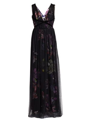 Nachelle Floral Print Tulle Layered Gown