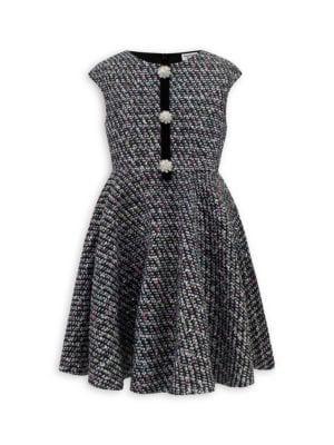 Little Girl's Embellished Tweed Dress