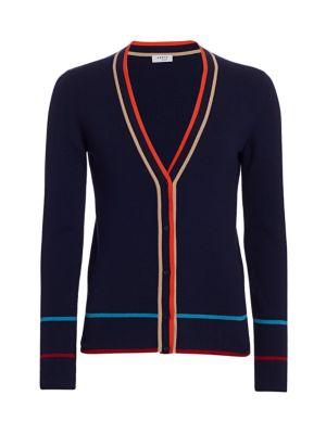 Multi-Color Trim Ribbed Stretch-Wool Cardigan