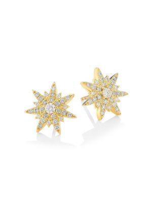 Spray Diamond & 18K Yellow Gold Starburst Earrings