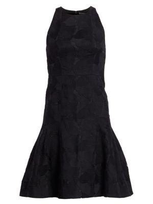 Floral Jacquard Sleeveless Flounce Dress