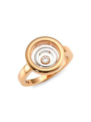 Happy Spirit 18K Rose & White Gold & Diamond Double Circle Ring