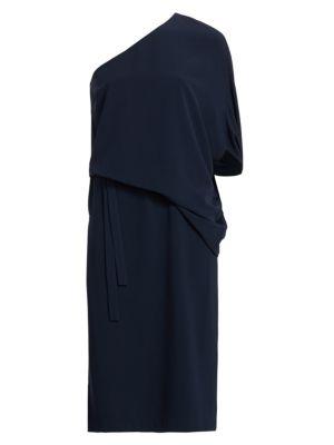 Draped Asymmetric Sleeve Midi Dress