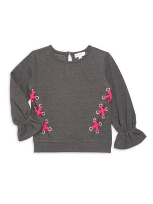 Little Girl's & Girl's French Terry Lace-Up Top