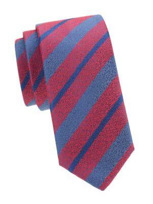 Diagonal Stripe Silk Wool Tie