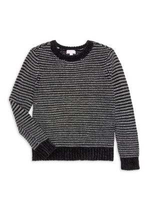 Girl's Striped Chenille Cropped Sweater