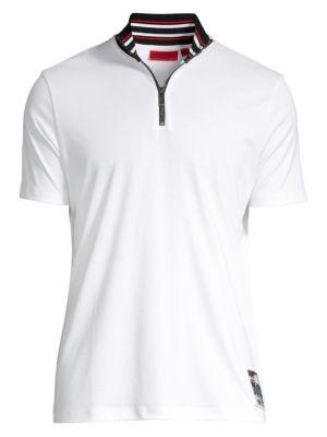 Daranto Relax-Fit Striped Baseball Collar Polo