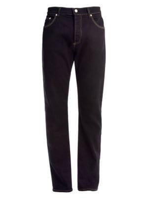 Goldtone Stitched Slim-Fit Jeans