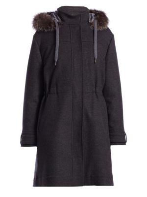 Fur-Trimmed Drawstring Cashmere & Wool Parka