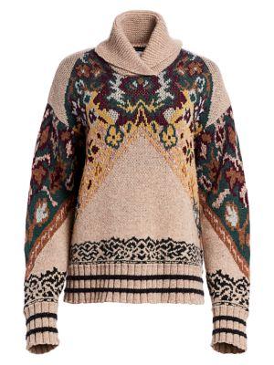 Oversize Floral Turtleneck Sweater