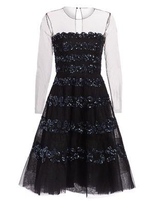 Lara Embellished Illusion Dress