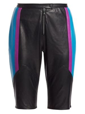 Colorblock Leather Bike Shorts