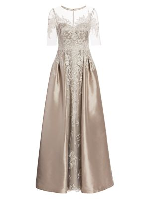 Floral Lace Embroidered Tulle & Satin A-Line Gown