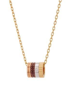 Quatre Classique 18K Tri-Tone Gold, Brown PVD & Diamond Pendant Necklace