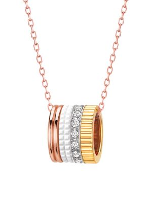 Quatre White Edition 18K Yellow Gold, Rose Gold, White Gold, Diamond & White Ceramic Pendant Necklac