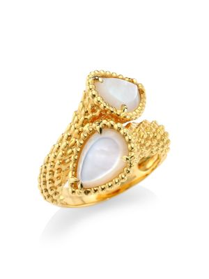 Serpent Bohème 18K Yellow Gold & Mother-Of-Pearl Two-Stone Ring