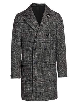 COLLECTION Plaid Wool-Blend Double-Breasted Top Coat
