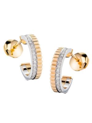 Quatre Radiant Edition 18K Yellow Gold, White Gold & Diamond Hoop Earrings