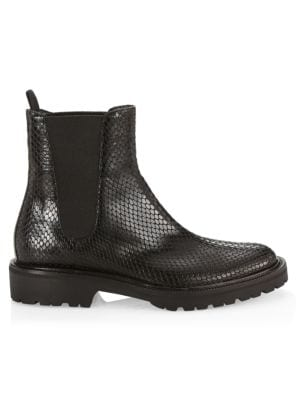 Snakeskin-Embossed Leather Chelsea Boots