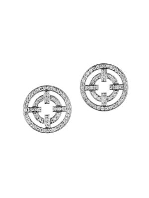 A License To Akillis 18K White Gold & Diamond Cutout Stud Earrings
