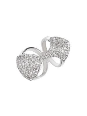 Python 18K White Gold & Diamond Double-Band Ring