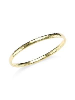 Classico Narrow 18K Yellow Gold Flat Hammered Bangle Bracelet