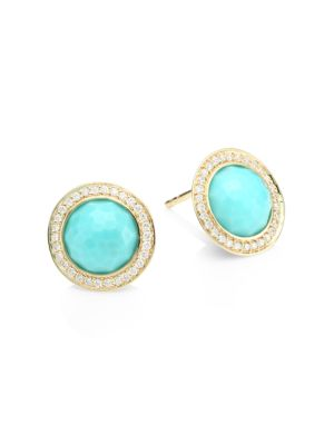 Lollipop Mini 18K Yellow Gold, Turquoise & Diamond Stud Earrings