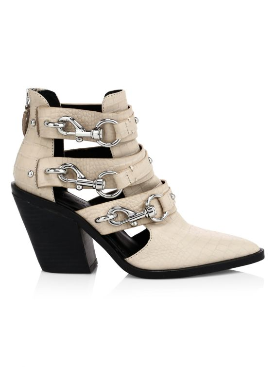 Rebecca Minkoff Seavie Croc-Embossed Lobster Clip Buckle Pebbled Leather Ankle Boots