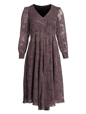 Square Print Long Sleeve Dress