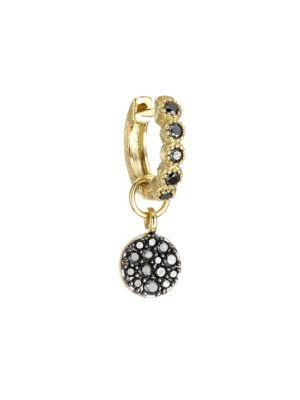 18K Yellow Gold Petite Pavé Black Diamond Single Earring Charm