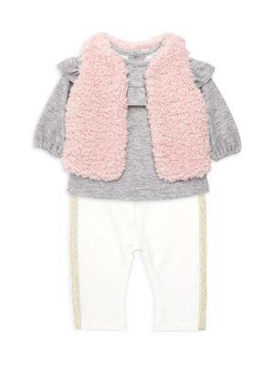 Baby Girl's Three-Piece Faux Fur Vest, Top & Leggings Set