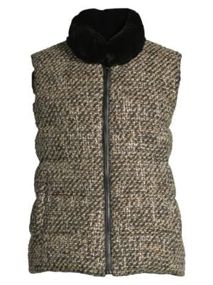 Rex Rabbit Reversible Fur Tweed Vest