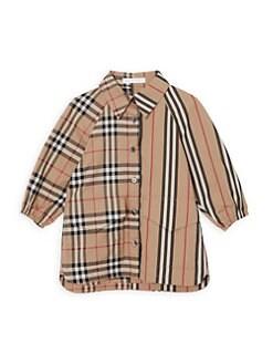 버버리 여아용 원피스 Burberry Baby Girls Mini Teigan Mix Vintage Check & Tartan Shirt Dress,Archive Beige