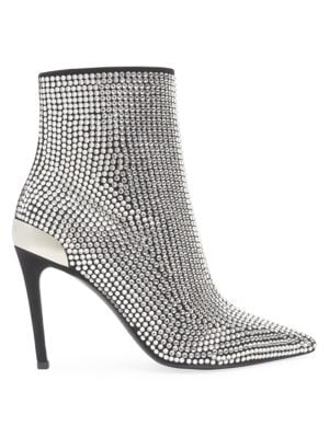 Embellished Stretch Suede & Leather Ankle Boots