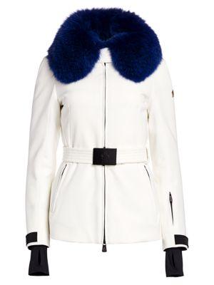 Moncler Ecrins Fox Fur-Trimmed Belted Jacket