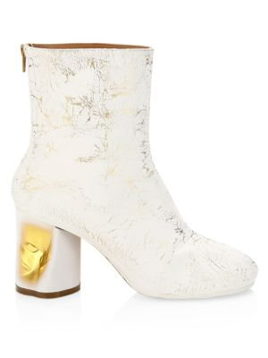 Painted Crushed Metallic Ankle Boots