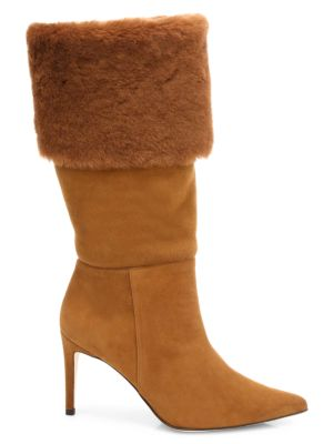 Knee-High Shearling-Trimmed Suede Boots