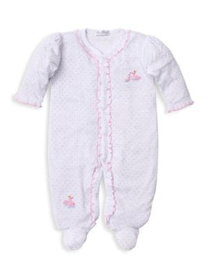 Baby Girl's Swan Embroidered Footed Onesie