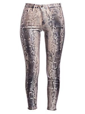 Margot Metallic Python Print Skinny Jeans