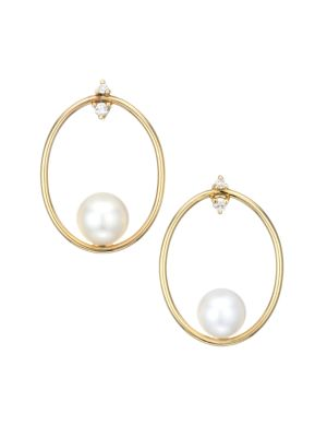 Small 14K Yellow Gold, Floating 8MM Freshwater Pearl & Diamond Oval Drop Earrings