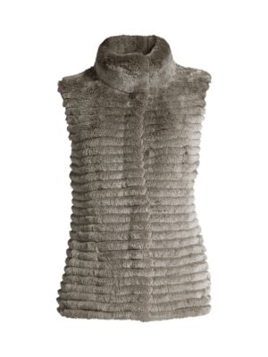 Knit-Back Rabbit Fur Vest