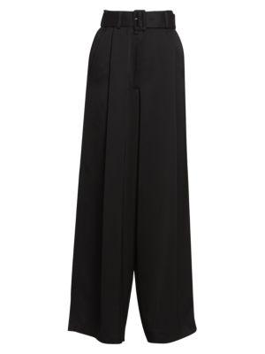 Wide-Leg Belted Suit Pants