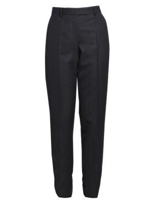 Straight-Leg Wool Pinstripe Flat Pants