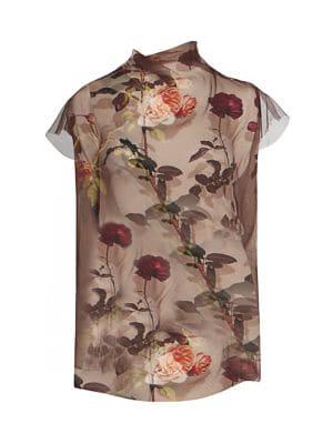 Printed Short-Sleeve Sheer Silk Tulle Blouse