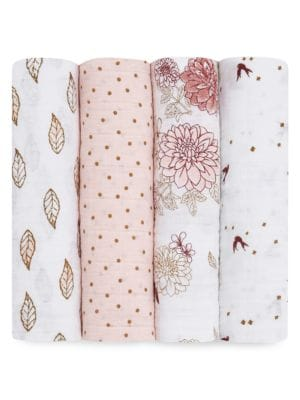 Baby's Dahlias Four-Pack Cotton Muslin Swaddle Set