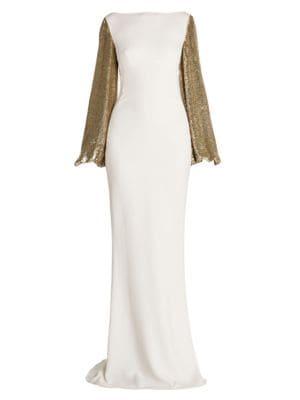 Sequin-Sleeve Column Gown