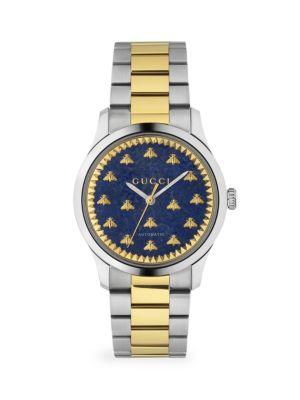 G-Timeless Automatic Stainless Steel & 18K Yellow Gold PVD Blue Lapiz Bracelet Watch