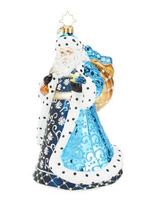 Debonair Winter Santa Glass Ornament