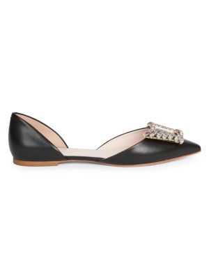 Wings Embellished Leather d'Orsay Flats